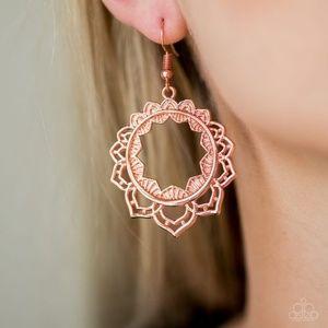 Modest Mandalas High Sheen Copper Petal Hoop Earri